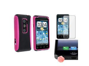 eForCity Pink TPU/Black Hard Hybrid Case Cover + Clear LCD Screen Protector + Pink Rose Dust Cap For HTC EVO 3D