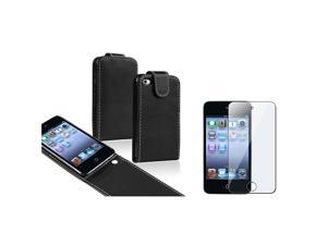 eForCity Black Leather Soft Case Cover + 6x Screen Protector For iPod Touch 4 4th Gen 4G