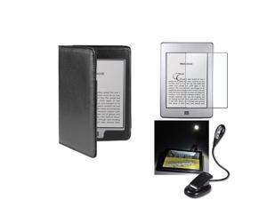 eForCity Black Folio Leather Skin Case Cover + Anti-Glare Screen Protetor + Light For Kindle Touch