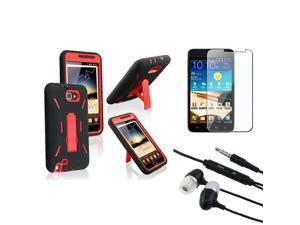 eForCity Red Hard/Black Skin Case Cover + Clear Guard + Headset For Samsung© Galaxy Note LTE i717