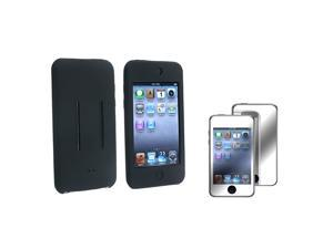 eForCity Black Silicone Case Cover + 2 Mirror Screen Protector For Apple® iPod Touch 1st 2nd Gen