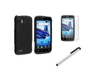 eForCity Black Snap-on Rubber Hard Case + Stylus Pen + Reusable Screen Protector Film Cover For Motorola Atrix 2 MB865