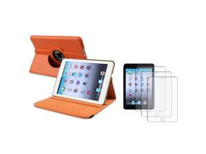 eForCity Orange 360 Swivel Leather Case Cover + 3X Anti-Glare Screen LCD Protector For iPad Mini 1 / Apple iPad Mini 2 / ...