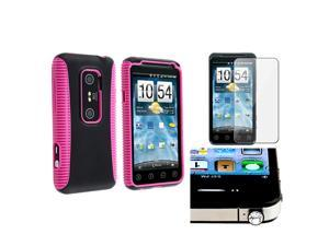 eForCity Pink TPU/Black Hard Hybrid Case Cover + Clear LCD Screen Protector + Clear Bling Dust Cap For HTC EVO 3D