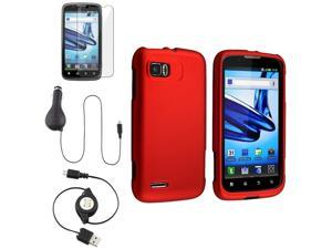 eForCity Red Rubber Case Cover + Retract Car Charger + USB Cable + Reusable Screen Protector For Motorola Atrix 2 MB865
