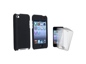 eForCity Black Rubber Hard Case Cover + Anti-Glare Screen Protector For iPod Touch 4 4th Gen 4G