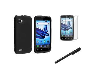 eForCity Black Hard Skin Case Cover + Screen Protector + Black Stylus For Motorola Atrix 2 MB865 AT&T