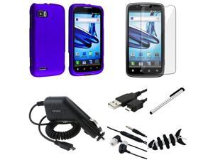 eForCity 7 Accessory Blue Hard Case Cover + Reusable Screen Protector + USB Cable + Charger + Headset For Motorola Atrix ...