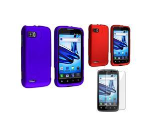 eForCity 2in1 Hard Cover Blue + Red Case + Screen Protector For Motorola Atrix 2 MB865