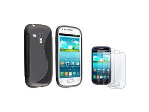 eForCity Black TPU Gel Case Cover + 3x Clear Screen Protector For Samsung© Galaxy S3 Mini I8190