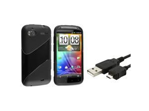 eForCity Black Hybrid Gel Skin TPU Case Cover + USB Data Cable Cord For HTC SENSATION 4G XE