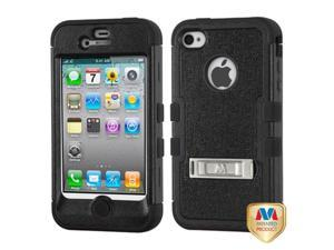 iPhone 4S/4 Case Cover - Natural Black/Black TUFF Hybrid Phone Protector Cover (with Stand) For Apple iPhone 4S/4
