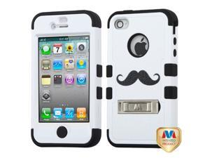 MYBAT iPhone 4S/4 Case Cover - The Handlebar-Moustache Mania Series/Black TUFF Hybrid Phone Protector Cover (with Stand) ...