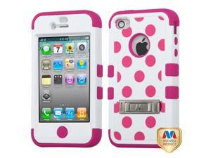 MYBAT iPhone 4S/4 Case Cover - Hot Pink Polka Dots(White)/Hot Pink TUFF Hybrid Phone Protector Cover (with Stand) For Apple ...
