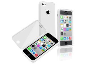 Apple iPhone 5C Book TPU Case , White/Clear Frosted Cover