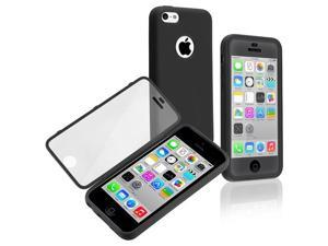Apple iPhone 5C Book TPU Case , Black/Clear Frosted Cover