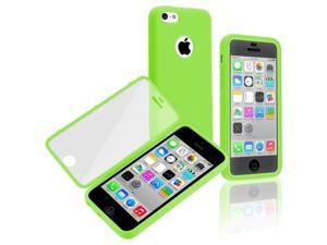 Apple iPhone 5C Book TPU Case , Green/Clear Frosted Cover