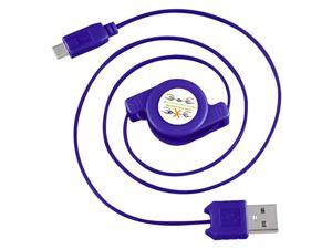 eForCity Micro USB 2-in-1 Retractable Cable , Blue