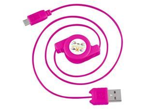 eForCity Micro USB 2-in-1 Retractable Cable , Hot Pink
