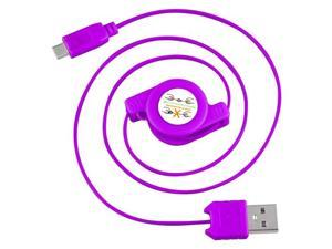 eForCity Micro USB 2-in-1 Retractable Cable , Purple
