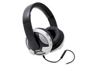 SYBA Oblanc UFO210 Over-Ear Dual Driver Amplified Stereo Headphones with In-line Mic, White OG-AUD63052