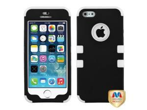 MYBAT Rubberized Black/Solid White TUFF Hybrid Phone Protector Cover Compatible With Apple iPhone 5/ iPhone 5s