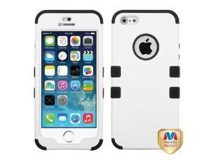 MYBAT Ivory White/Black TUFF Hybrid Phone Protector Cover Compatible With Apple iPhone 5/ iPhone 5s