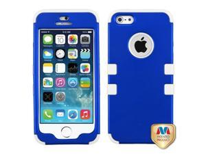 MYBAT Titanium Dark Blue//Solid White TUFF Hybrid Phone Protector Cover Compatible With Apple iPhone 5/ iPhone 5s