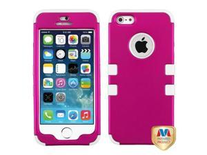 MYBAT Titanium Solid Hot Pink/Solid White TUFF Hybrid Phone Protector Cover Compatible With Apple iPhone 5/ iPhone 5s
