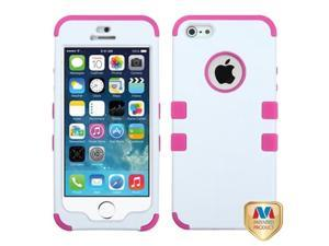 MYBAT Ivory White/Hot Pink TUFF Hybrid Phone Protector Cover Compatible With Apple iPhone 5/ iPhone 5s