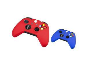 eForCity 2 packs of Silicone Skin Cases: Red/Blue Compatible with Microsoft Xbox One  Controller