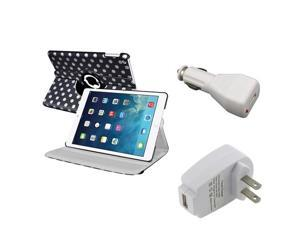 eForCity Black White Polka Dot Hot Cute 360 degree Swivel Stand Leather Case + White Car Charger Adapter + White Travel/Wall ...