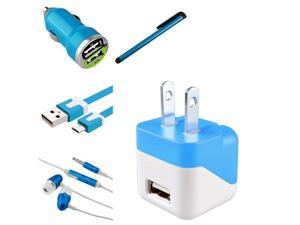 eForCity for Cell / Tablet Micro USB Accessories Kit - 2-Port Car Charger Adapter + Noodle Cable + Headset + Stylus - Blue