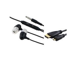 eForCity Slim MICRO HDMI HD CABLE + Black Headset compatible with Motorola Droid 3 Droid Razr Atrix 2