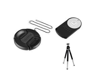 eForCity Black 62mm Camera Lens Cap with RC-6 Infrared Remote Control AND Black Foldable Mini Tripod Compatible with Canon ...