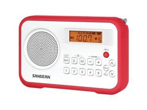 SANGEAN PR-D18RD AM/FM Digital Portable Receiver with Alarm Clock ,Red
