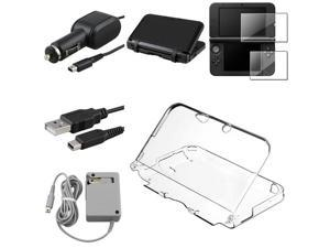 eForCity 5in1 Crystal + Black Case Cover + 2-LCD Film + USB Cable + Wall Charger + DC Charger Compatible With Nintendo 3DS ...