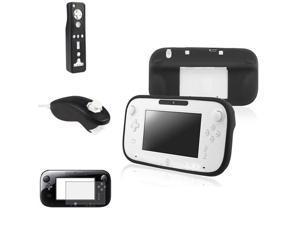 eForCity Black Gamepad Controller + Remote + Nunchuck Case Cover + Anti-Glare Film Compatible With Nintendo Wii U