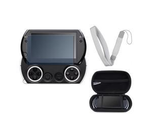 eForCity FOR PSP GO EVA BAG Black Cover Pouch Case Cover + Screen Film Guard + WHITE WRIST STRAP