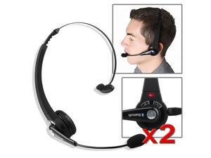 eForCity 2 pcs Black Wireless Bluetooth Headset Compatible With Sony Playstation 3 PS3 Slim