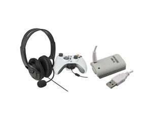 eForCity Black Headset With Noise Canceling Microphone + Battery w / USB Cable Compatible With Xbox 360