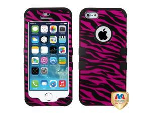 Zebra Skin Hot Pink/Black (2D Silver)/Black TUFF Hybrid Phone Protector Cover for Apple iPhone 5, iPhone 5s