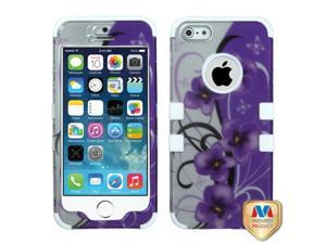 Mybat Twilight Petunias (2D Silver)/Solid White TUFF Hybrid Phone Protector Cover for APPLE iPhone 5, iPhone 5s