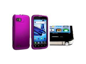 eForCity Purple Snap-in Rubber Coated Case with FREE Clear Diamond Headset Dust Cap Compatible with Motorola Atrix 2 MB865