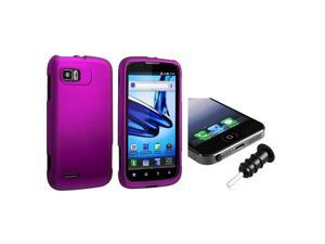 eForCity Purple Snap-in Rubber Coated Case with FREE Black Headset Dust Cap Compatible with Motorola Atrix 2 MB865