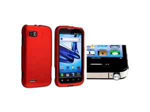 eForCity Red Snap-in Rubber Coated Case with FREE Clear Diamond Headset Dust Cap Compatible with Motorola Atrix 2 MB865