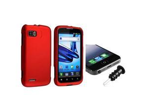 eForCity Red Snap-in Rubber Coated Case with FREE Black Headset Dust Cap Compatible with Motorola Atrix 2 MB865