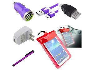 eForCtiy Tablet Accessories For Her - for Dell Venue 7 / Venue 8 / Venue 8 Pro - Waterproof Bag + USB Charger Adapters / ...