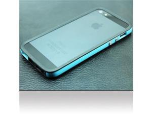 BJ For Apple iPhone 5 Bumper Case Cover - Black/Baby Blue Bumper