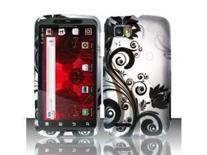 BJ For Motorola Atrix 2 MB865 Rubberized Hard Design Case Cover - Black Vines